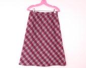 Vintage Paid Skirt | 1970s Ruby Plaid Skirt M/L Deadstock
