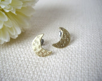 Gold crescent earrings, Moon studs, Moon earrings, Raw brass, Star stamped texture, One of a kind earrings, hypoallergenic ear, moon gift