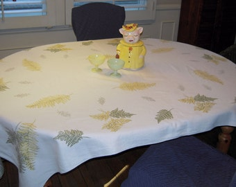 Vintage Tablecloth Falling Leaves in Green and Yellow