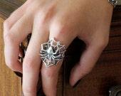 Spider Bracelet Silver - Silver Spider Jewelry - Spider Art - Halloween Bracelet - Halloween Jewelry - Spider Jewelry - Arachnid Jewelry