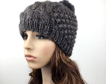 Hand Knit Hat  woman hat winter hat wool Beanie Hat Pom pom hat olive green hat