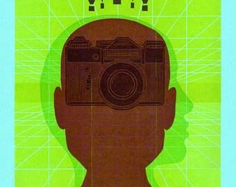 Shutter Shock Camera Letterpress Poster