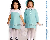 2 - Simplicity 1207 Childs Dress Matching Coat & Bonnet size 1/2 1 2 3 4 Retro 70's Easter Church Special Occasion Sewing Pattern Uncut