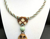 Owl Micro Macrame Necklace - Spiral - Artisan Ceramic Pendant - Macrame Necklace