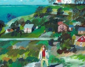 A picturesque town- painting of a girl- Landscape Painting  - Original View painting- acrylicl Painting