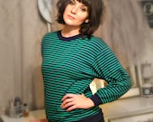 Vintage Green and Navy Striped Sweater - Size Medium