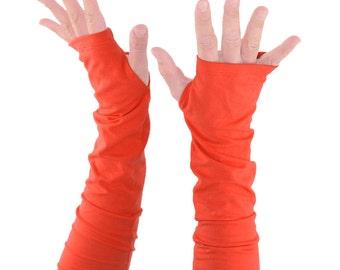 Arm Warmers in Tangerine Orange - Fingerless Gloves - Sleeves