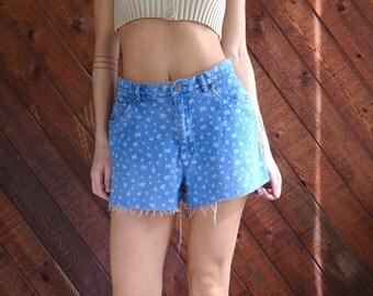 Floral Denim High Waist Cut Off Shorts - Vintage 90s - MEDIUM M 6
