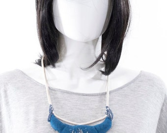 Textile Necklace Avant Garde Crochet Silk Rhinestone Pearl Handmade Artistic Bib Necklace