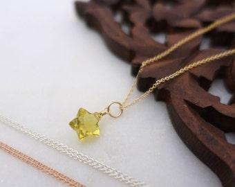 Gold Star Necklace, Gold Lemon Quartz Necklace, Rose Gold Filled Lemon Quartz Star Necklace, Sterling Silver Lemon Quartz Star Necklace