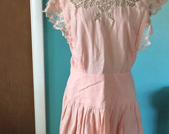 Tea and Cordials - 1980's Pink Cotton Cutwork Embroidered Pinafore Sundress