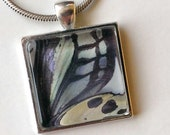 Silver Plated Butterfly Wing - Up Close - Glass set in Silver Plated Pendant Tray with Chain - Dark Blue and Purple