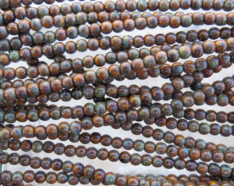 4mm Opaque Goldenrod Picasso Czech Glass Round Beads - Qty 100 (BS315)