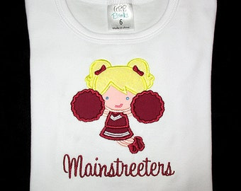 Custom Personalized Applique CHEERLEADER and NAME Bodysuit or Shirt - Maroon and White - Or Choose Your Team Colors