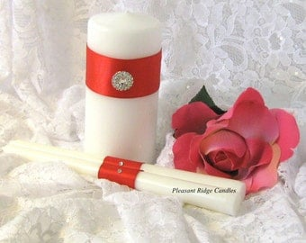 Red Unity Candle Set Bling Unity Candle Valentine Unity Candle Wedding Candle Cheap Unity Candle Rhinestone, Ribbon & Candle Color Choice