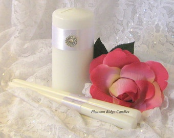 Unity Candle Set Bling Unity Candle Wedding Candle Cheap Unity Candle Color, Size, Rhinestone & Ribbon Color Choice