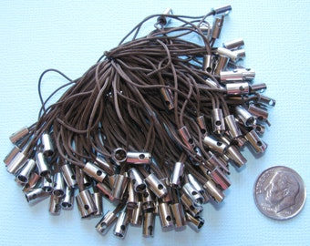 20 Dark Brown Cell Phone String Straps 50mm Silver Tone