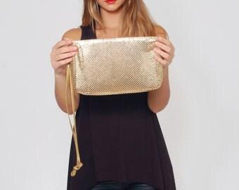 Vintage 80s Gold MESH Purse Metal Mesh Bag DISCO Bag Rectangle Clutch Vintage GLAM Handbag