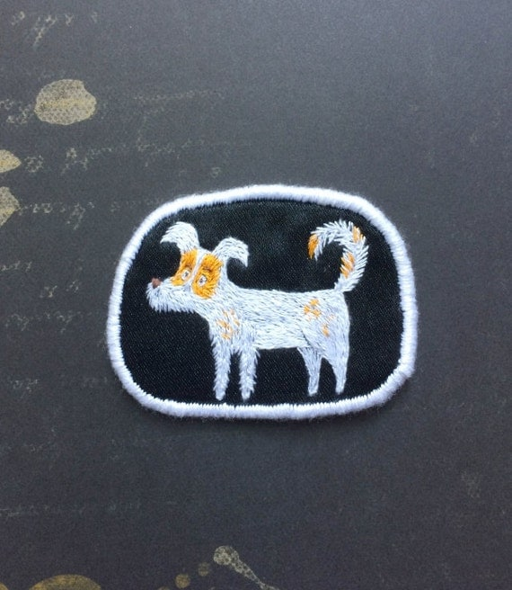 "Textile Dog Portrait Brooch - ""Struppi"" - Funny Dogs - collection, hand embroidered textile pet jewelry, fox terrier"