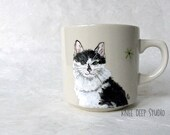 Cat Painting on Ceramic Mug Handpainted Black and White Kitty Portrait Coffee Cup Functional Fine Art Gift Unique Original Art Under 50