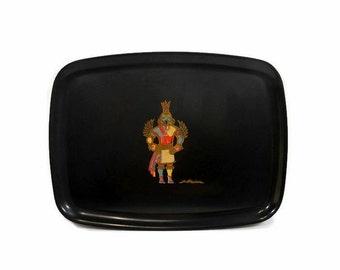 Vintage Tray Couroc Of Monterey | KACHINA Figure | Mosaic Dancer | Kachina Costume | Barware Tray | Retro Kitchen | Black Serving Platter
