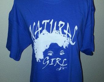 "Blue  ""Natural Girl"" T-Shirt/  Natural Hair T-Shirt/ Blue and White T Shirt"