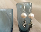 Elegant Sapphire and Diamond Glass with Real Pearls Earrings, Formal Wedding Jewelry, Party Jewelry