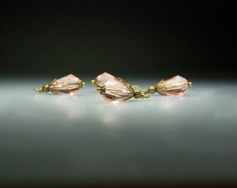 Vintage Style Bead Dangles Light Pink Glass Set of Four PK941