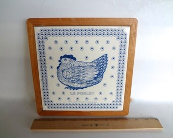 Vintage Large Taylor Ng Trivet Or Wall Decor Le Poulet There is Wear On Wood Frame See Pics 9 And 1/8 inches Square Ceramic Tile & Wood