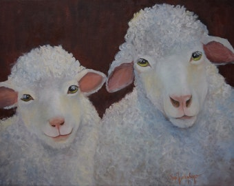 Sheep Painting 216, Cute Little Lambkins Sugar and Spice, Original Oil Painting