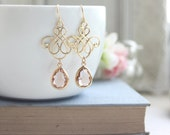 Bridal Earrings Gold Peach Vanetian Moroccan Victorian Chandelier Earring Champagne Peach Gold Earring Bridesmaid Gold Peach Wedding Earring