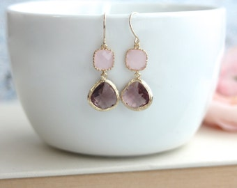 Purple Plum, Pink Opal Glass Dangle Earrings. Opal Ice Pink, Plum Purple Gold Framed Glass Dangle Earring. Bridesmaid Gift. Purple Wedding.