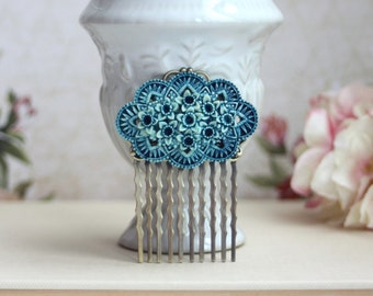Blue Rose Flower, Floral Bouquet Hair Comb. Dusty Blue Wedding. Bridesmaids Gift, Blue Flowers Vintage Style, Shabby Something Blue