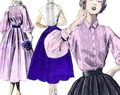 Gorgeous Pin Tuck Blouse and Full Rockabilly Skirt! Vintage 1940s Advance Sewing Pattern 5484, Size 12, Pre-cut, Unprinted Pattern