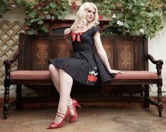 Retro Cherry Dress, Halloween Party Dress, Rockabilly Dress, Swing Dress, Bite Me Dress, UK Size 8-20/US Size 4-16