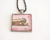 train necklace, postage stamp train pendant, steam engine, mens necklace vintage stamp, New Zealand 1973