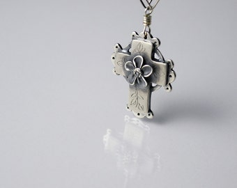 Consumed by Love Cross Necklace in Sterling Silver, Fine Silver
