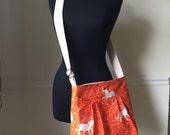 orange unicorn cross body bag // 100% cotton adjustable strap messenger bag in heather ross's far far away fabric // READY TO SHIP