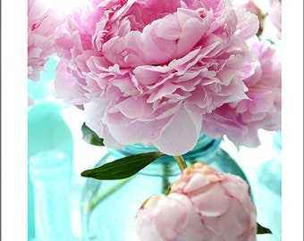 Peonies Photography, Shabby Chic Decor, Peony Prints, Peonies Aqua Pink Mason Jar, Romantic Pink Flower Prints, Pink Peony Photos Wall Art