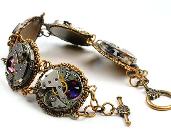 Steampunk Five Vintage Watch Movement N Amethyst Bracelet