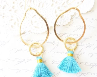 Eternity Circle Tassel Earrings - Interlocking Circle Charm Earrings - Satin Tassel Earrings - Blue Tassel - Gold Circle Tassel Earrings