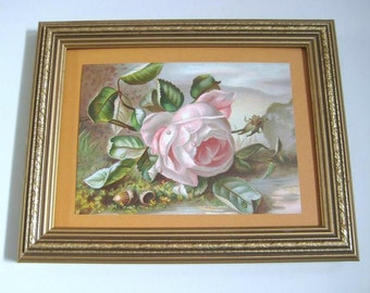 Framed Floral Still Life, Vintage Victorian Flower Print, Floral Decor, Pink Rose, Acorns, Upcycled Recycled Repurposed