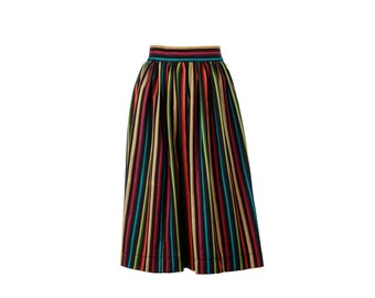 Amelia Skirt from The Domestic Dame - full gathered skirt with two inch waistband and button closure - limited edition stripe fabric