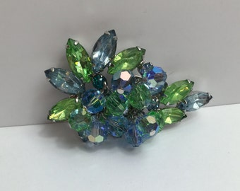 DeLizza & Elster Juliana Paisley Pin, Green and Blue Brooch