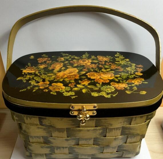 Basket Weaving Peterborough : Sale vintage basket bag purse hand painted by