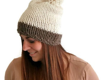 Chunky Handknit Pom Pom Hat,  Women's handknit hat, chunky handknit hat, neutral handknit hat, fashion accessories fall 2016 teen trendy hat