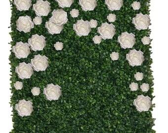 Flower Wall Backdrop Backdrop 5' by  5' Boxwood Green Wall