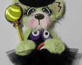 Halloween witch green tear bear with tutu paper piecing embellishment for scrap booking, card making and other paper crafts