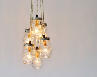 Mason Jar Cluster Chandelier, 6 Clear Mason Jars, Hanging Pendant Lamp Fixture, BootsNGus Rustic Lighting and Home Decor