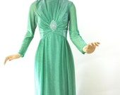 Vintage 70s Formal Evening Dress Emerald Green Lame' Long Gown w Rhinestones